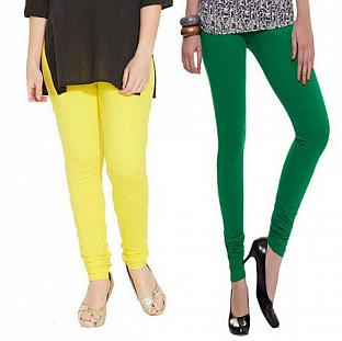 Cotton Light Yellow and Dark Green Color Leggings Combo @ Rs407.00