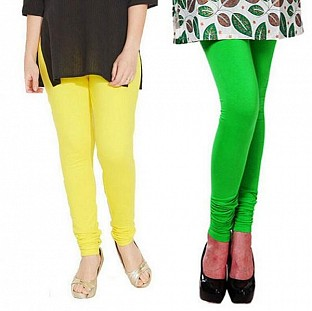 Cotton Light Yellow and Light Green Color Leggings Combo @ Rs407.00
