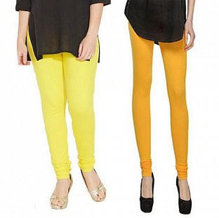 Cotton Light Yellow and Yellow Color Leggings Combo @ Rs407.00
