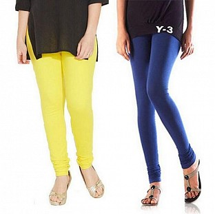 Cotton Light Yellow and Blue Color Leggings Combo @ Rs407.00