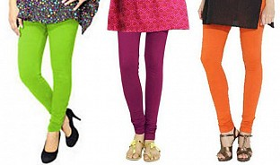 Cotton Parrot Green,Dark Pink and Orange Color Leggings Combo@ Rs.617.00