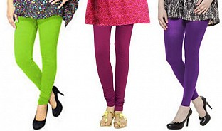Cotton Parrot Green,Dark Pink and Purple Color Leggings Combo @ Rs617.00