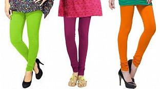 Cotton Parrot Green,Dark Pink and Dark Orange Color Leggings Combo@ Rs.617.00