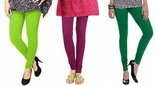 Cotton Parrot Green,Dark Pink and Dark Green Color Leggings Combo @ Rs617.00
