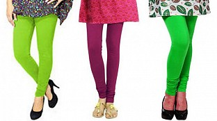 Cotton Parrot Green,Dark Pink and Light Green Color Leggings Combo @ Rs617.00