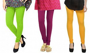 Cotton Parrot Green,Dark Pink and Yellow Color Leggings Combo @ Rs617.00