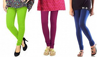 Cotton Parrot Green,Dark Pink and Blue Color Leggings Combo @ Rs617.00