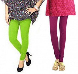 Cotton Parrot Green and Dark Pink Color Leggings Combo @ Rs407.00