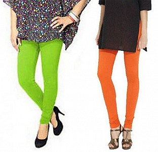 Cotton Parrot Green and Orange Color Leggings Combo@ Rs.407.00