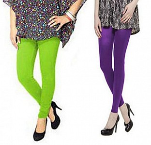Cotton Parrot Green and Purple Color Leggings Combo @ Rs407.00