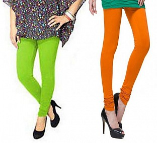 Cotton Parrot Green and Dark Orange Color Leggings Combo @ Rs407.00