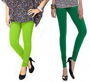 Cotton Parrot Green and Dark Green Color Leggings Combo @ Rs407.00