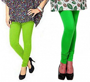 Cotton Parrot Green and Light Green Color Leggings Combo @ Rs407.00