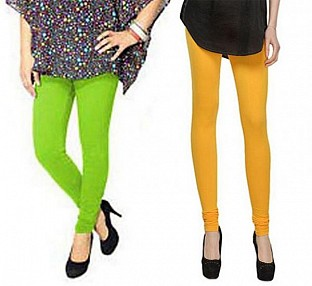 Cotton Parrot Green and Yellow Color Leggings Combo@ Rs.407.00