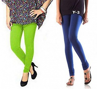 Cotton Parrot Green and Blue Color Leggings Combo@ Rs.407.00