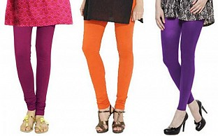 Cotton Dark Pink,Orange and Purple Color Leggings Combo @ Rs617.00