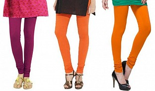 Cotton Dark Pink,Orange and Dark Orange Color Leggings Combo@ Rs.617.00