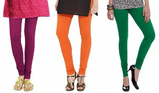Cotton Dark Pink,Orange and Dark Green Color Leggings Combo @ Rs617.00
