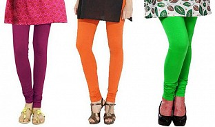 Cotton Dark Pink,Orange and Light Green Color Leggings Combo @ Rs617.00