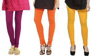 Cotton Dark Pink,Orange and Yellow Color Leggings Combo @ Rs617.00