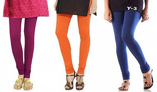 Cotton Dark Pink,Orange and Blue Color Leggings Combo @ Rs617.00