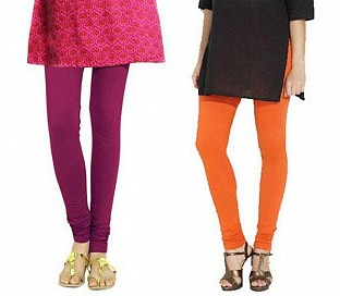 Cotton Dark Pink and Orange Color Leggings Combo @ Rs407.00