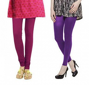 Cotton Dark Pink and Purple Color Leggings Combo @ Rs407.00