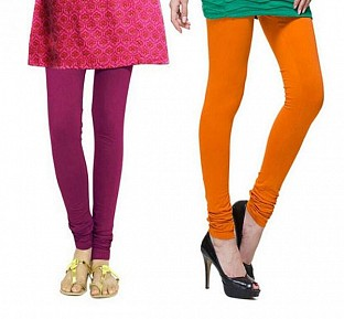 Cotton Dark Pink and Dark Orange Color Leggings Combo @ Rs407.00
