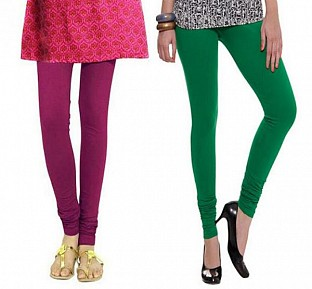 Cotton Dark Pink and Dark Green Color Leggings Combo@ Rs.407.00