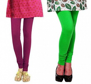 Cotton Dark Pink and Light Green Color Leggings Combo @ Rs407.00
