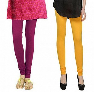 Cotton Dark Pink and Yellow Color Leggings Combo @ Rs407.00
