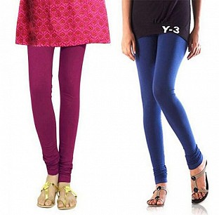 Cotton Dark Pink and Blue Color Leggings Combo @ Rs407.00