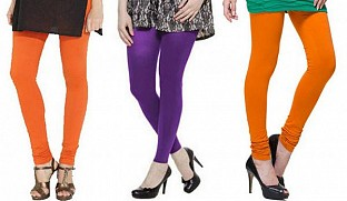 Cotton Orange,Purple and Dark Orange Color Leggings Combo @ Rs617.00
