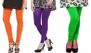 Cotton Orange,Purple and Light Green Color Leggings Combo @ Rs617.00