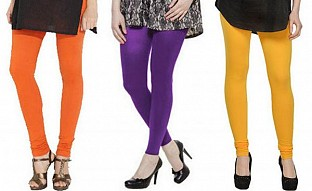 Cotton Orange,Purple and Yellow Color Leggings Combo @ Rs617.00