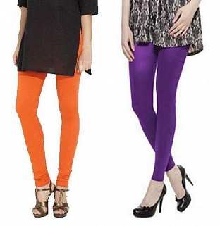 Cotton Orange and Purple Color Leggings Combo @ Rs407.00