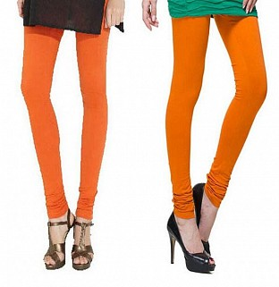 Cotton Orange and Dark Orange Color Leggings Combo @ Rs407.00