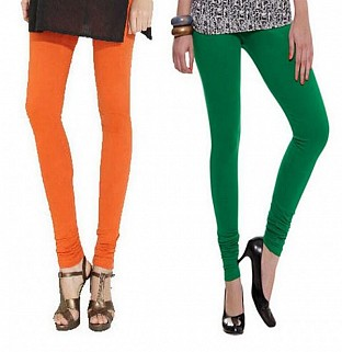 Cotton Orange and Dark Green Color Leggings Combo @ Rs407.00