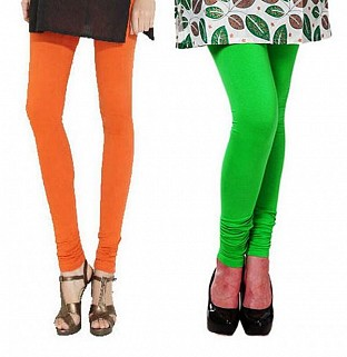 Cotton Orange and Light Green Color Leggings Combo @ Rs407.00