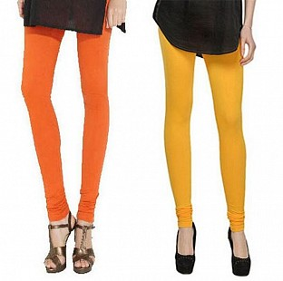 Cotton Orange and Yellow Color Leggings Combo @ Rs407.00