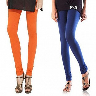 Cotton Orange and Blue Color Leggings Combo @ Rs407.00
