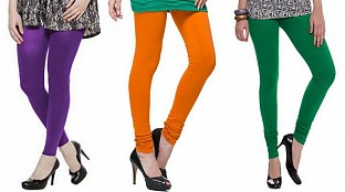 Cotton Purple,Dark Orange and Dark Green Color Leggings Combo @ Rs617.00