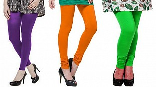 Cotton Purple,Dark Orange and Light Green Color Leggings Combo @ Rs617.00