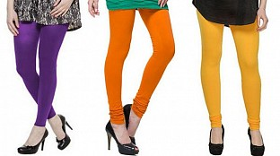 Cotton Purple,Dark Orange and Yellow Color Leggings Combo @ Rs617.00