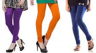 Cotton Purple,Dark Orange and Blue Color Leggings Combo @ Rs617.00