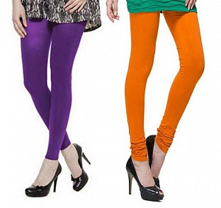 Cotton Purple and Dark Orange Color Leggings Combo @ Rs407.00