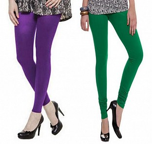 Cotton Purple and Dark Green Color Leggings Combo @ Rs407.00