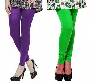 Cotton Purple and Light Green Color Leggings Combo @ Rs407.00