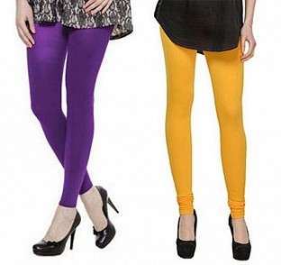 Cotton Purple and Yellow Color Leggings Combo @ Rs407.00