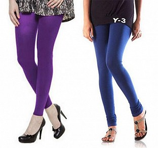 Cotton Purple and Blue Color Leggings Combo @ Rs407.00